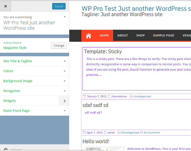 wp customizer color change