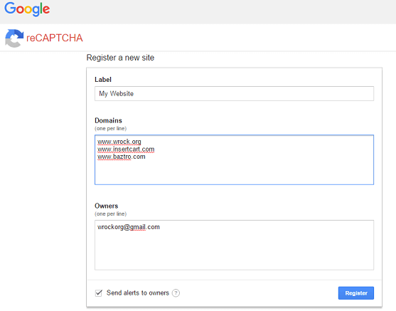 Regidter for google no recaptcha