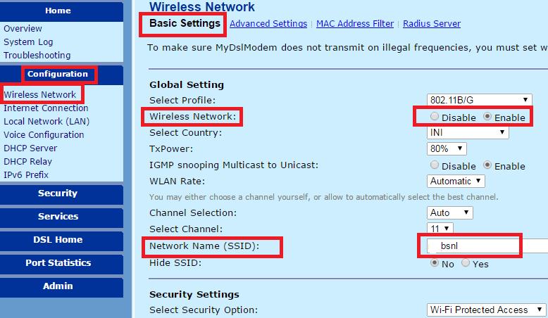 password for bsnl broadband